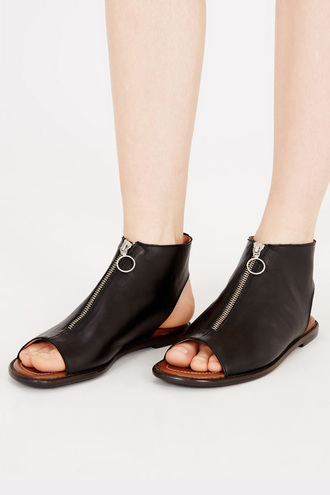 shoes cut out shoes zip leather boots black leather peep toe boots