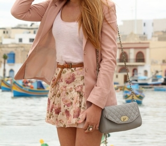 skirt girly babypink purse pretty lightpink baby pink light pink tumblr outfit coat belt bag shirt
