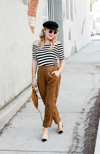 thehuntercollector blogger bag top shoes sunglasses jewels cap striped top brown pants pumps summer outfits fall outfits