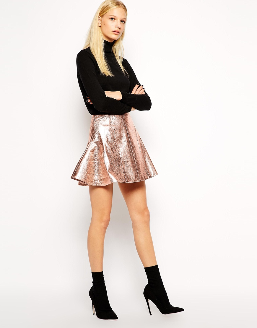 Antipodium retriever skirt in metallic coated fabric at asos.com