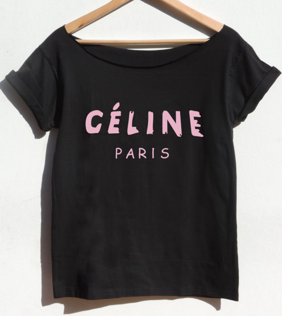 Celine paris t shirt pink print off shoulder top by celebritee