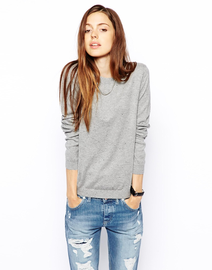 ASOS Jumper With Zip Back In Nep at asos.com