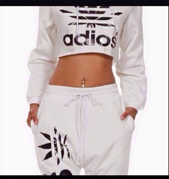jumpsuit adios crop top adios sweatpants black and white