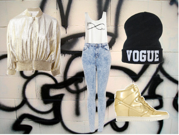 infinity gold shoes nike kicks beanie vogue black bomber jacket acid wash crop tops high waist jeans sneaker heels outfit street style ghetto fab swag swag girl hood grafitti pants hat