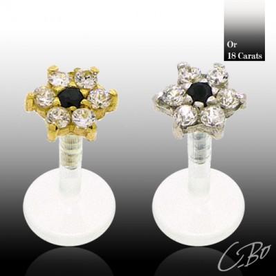 Piercing labret or avec fleur incrustée oxydes de zirconium