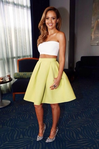dress celebrity style celebrity summer lime jessica alba top skirt crop tops girly yellow