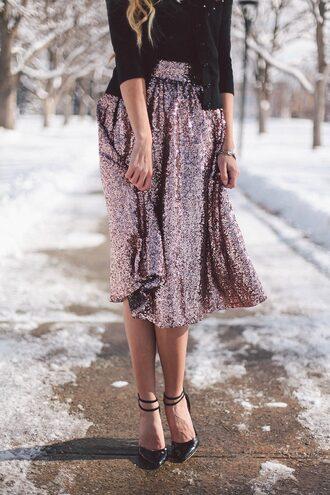 skirt pink sequin pink sequins sequins sequin skirt midi skirt high heels heels shoes black shoes