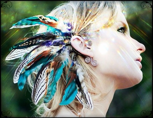 jewels ear cuff feathers feather hair