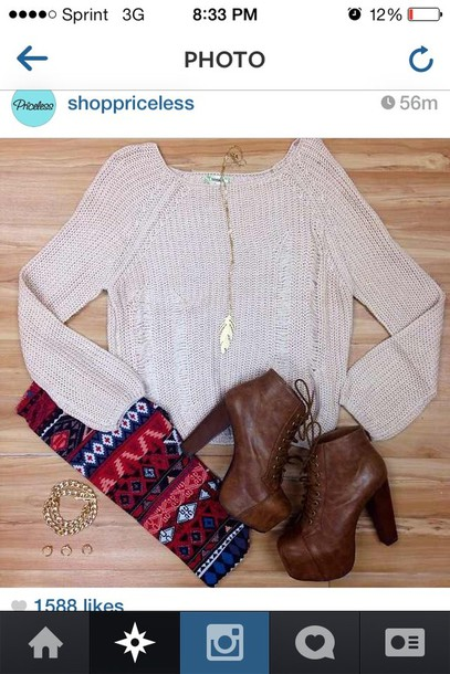 shirt sweater fall outfits cute aztec leggings shoes tan beige red blue fall time pants