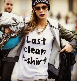 t-shirt clean cara delevingne delevingne last black white black and white streetstyle streetwear hat jacket sunglasses shirt last clean t-shirt skirt plain white tee cute funny t-shirt white t-shirt lovely graphic tee white tees casual what ever quote on it green jacket