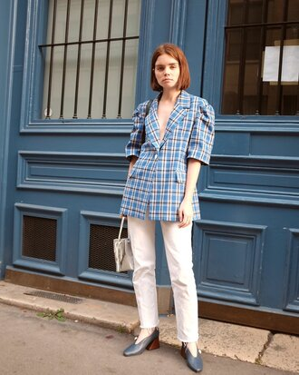 jeans tumblr white jeans shoes pumps jacket blue jacket tartan bag