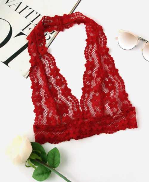 underwear girly red lingerie lace lace bralette bralette halter top