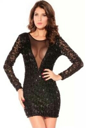 dress,sequin dress,sequins,v neck dress,mesh,mesh dress
