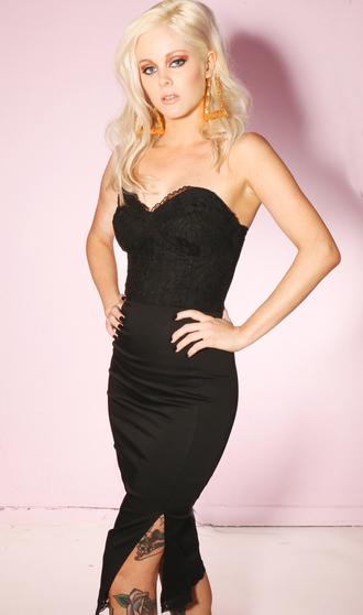 dress black dress lace strapless dress bustier