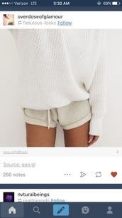 shorts,cream,soft,sweater,white,bedding,winter outfits,summer,comfy