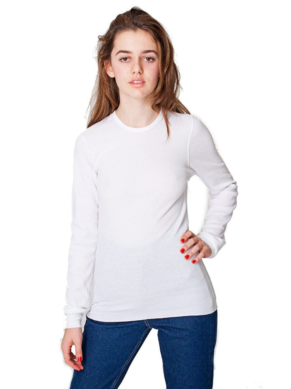 American apparel women 39 s thermal long sleeve t for White thermal t shirt