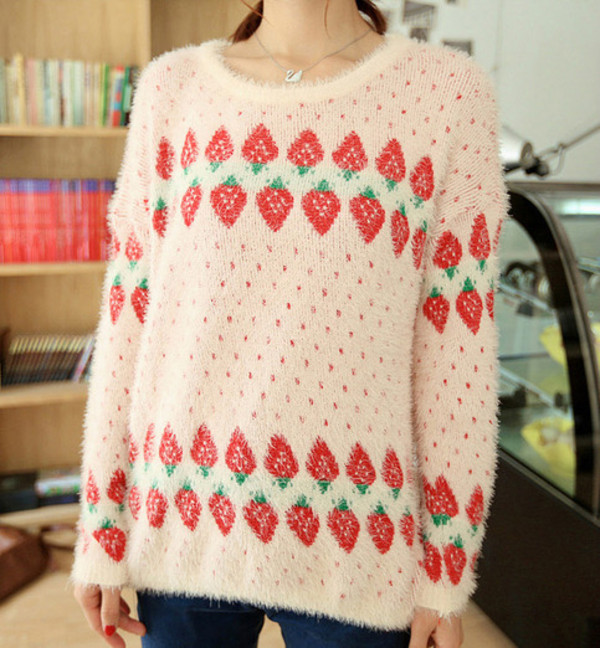 sweater fruits strawberry strawberry fluffy cute girl girly feminine girly girl pink shirt shirt top top blouse blouse winter sweater oversized sweater cute sweaters fuzzy sweater