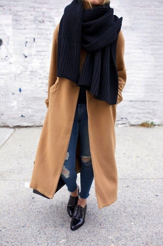 scarf blue scarf blue jeans black leather shoes oversized scarf knitted scarf camel coat ripped jeans leather shoes patent shoes black patent loafers black loafers coat tumblr long coat winter coat sweater black sweater black scarf shoes black shoes jeans skinny jeans camel oversized coat