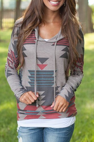 jacket red grey turquoise hoodie sweatshirt