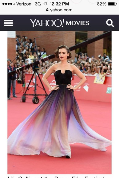 chiffon dress prom dress rome movie festival lily collins flowy