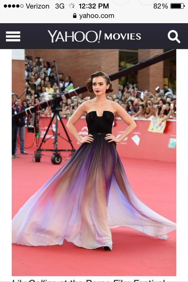 rome movie festival dress lily collins chiffon prom dress flowy