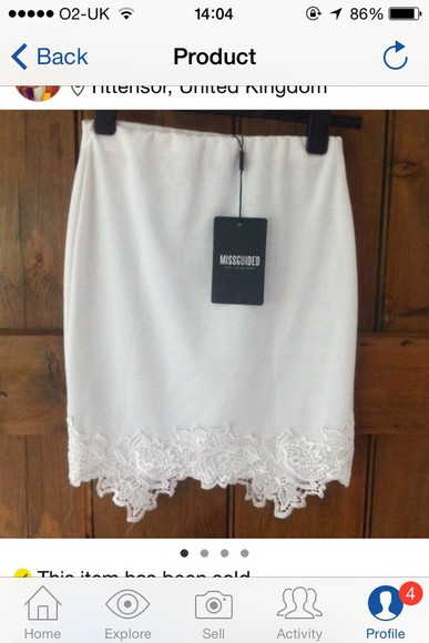 skirt white skirt lace skirt miss guided lace