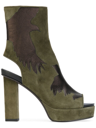 cut-out women boots leather green shoes