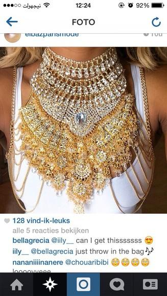 jewels necklace statement necklace gold turtleneck diamonds statement