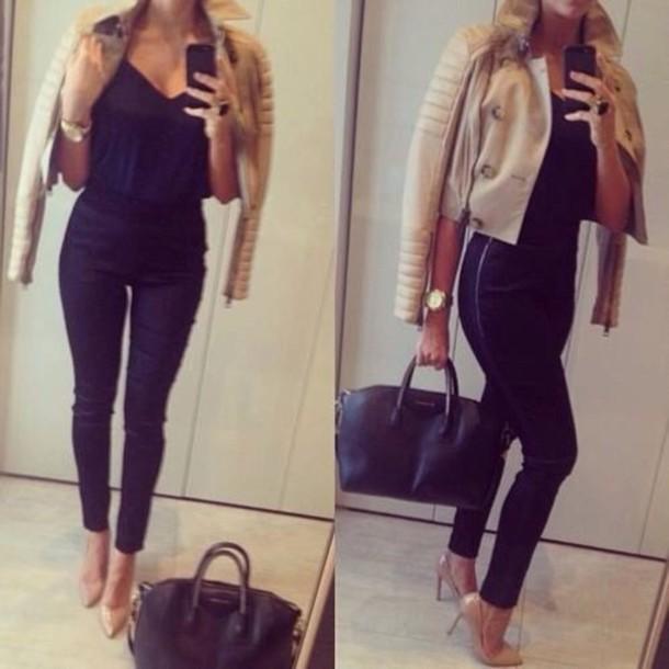 blouse jacket beige lether lether jacket black luxury bag