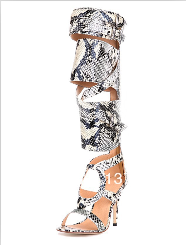 2014 brand new  Women Genuine Snake Leather Knee High Summer Boots High Heel Gladiator Sandals cut outs Big Size-in Boots from Shoes on Aliexpress.com