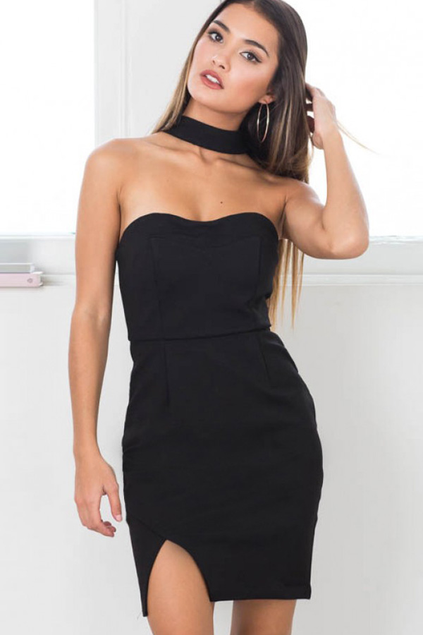 Black Halter Side Slit Sexy Bodycon Dress