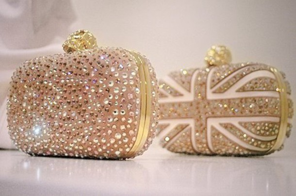 Bolsa De Festa Clutches : Bag uk england sequins white gold clutch crystal