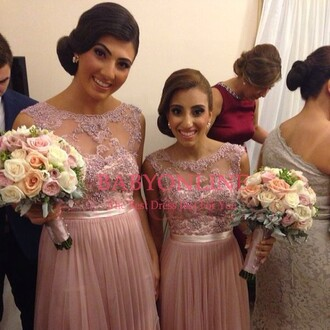 dress lace dress pink prom dress evening dress bridesmaids dress