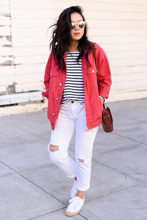 the fancy pants report blogger jacket jeans shirt sunglasses shoes bag