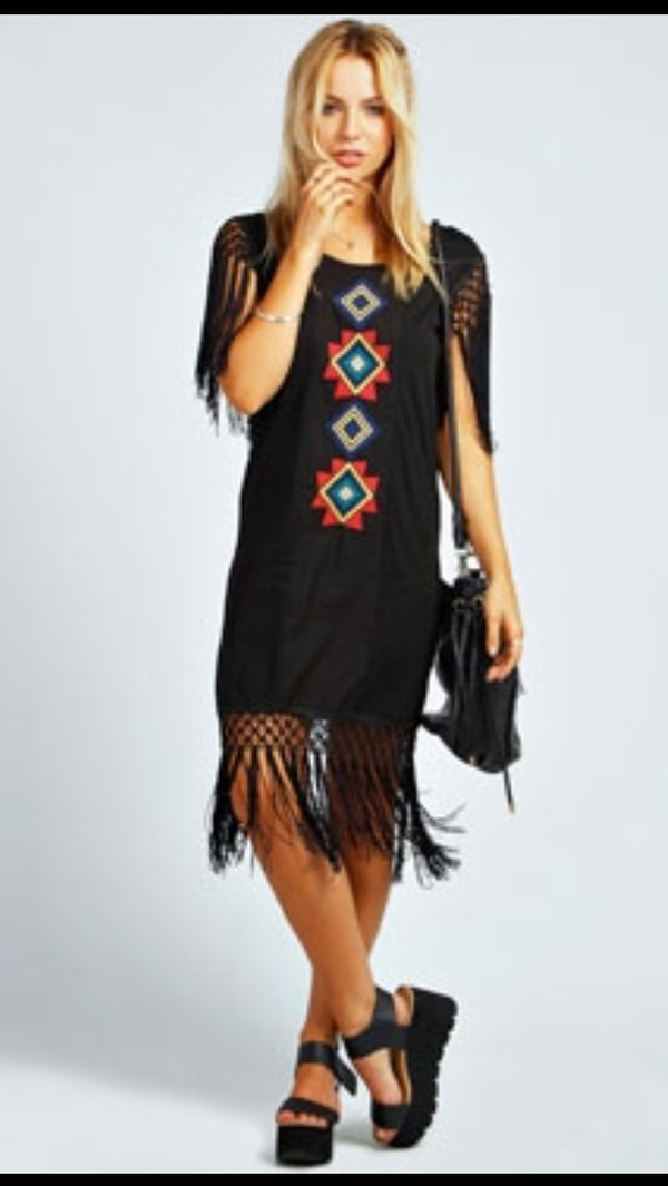 black dress tassel festival dress