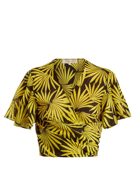 Diane Von Furstenberg top wrap top floral cotton print yellow