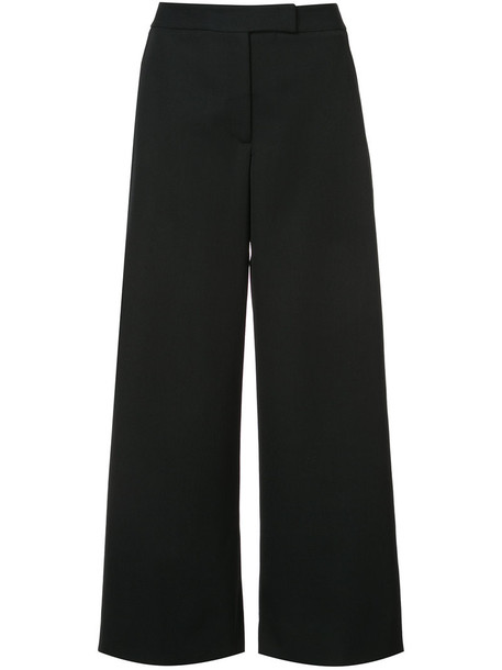 culottes women black silk wool pants