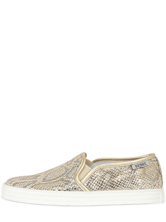 snake sneakers leather gold beige shoes