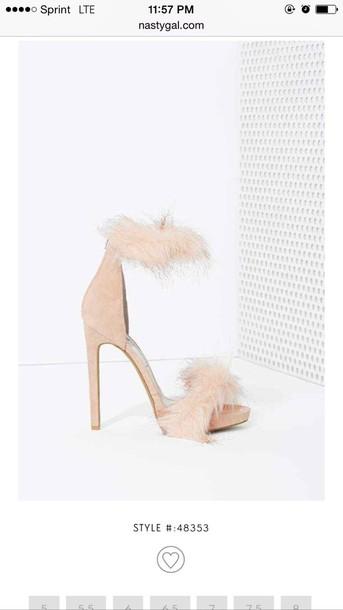 shoes fur heels heels with fur sexy new style size 8 high heel sandals fluffy heels pink heels fur heels tan