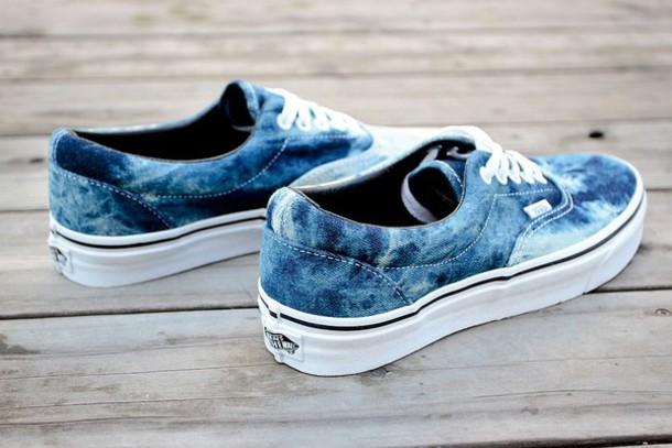 Shoes: acid wash, vans, hipster, vintage, denim shoes, 80s, cute, cool
