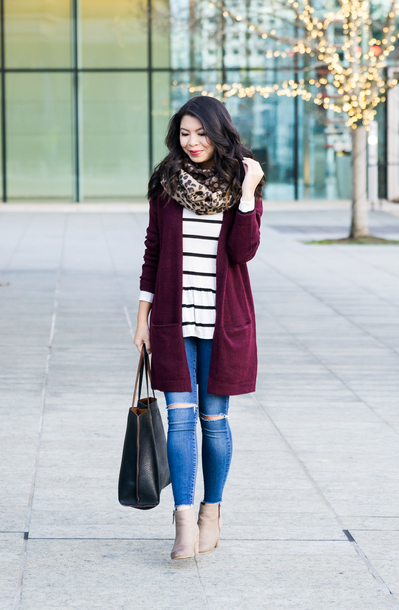 cardigan animal print scarf white striped shirt burgundy cardigan ripped jeans black bag beige boots blogger