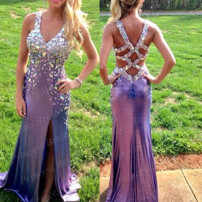Free shipping formal women gown mermaid v neck side cut out floor length long luxury crystal prom dress bk1686