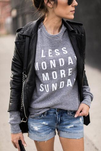 top tumblr sweatshirt quote on it shorts denim shorts blue shorts black leather jacket leather jacket black jacket jacket