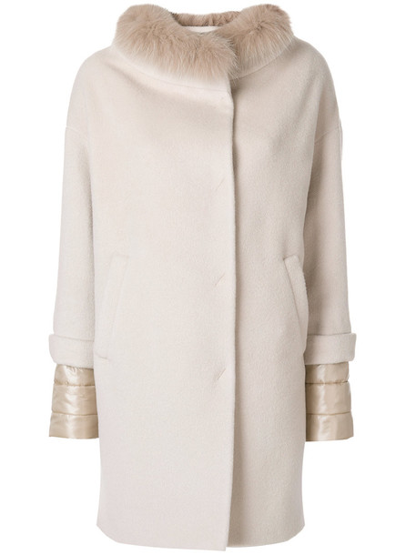 Herno coat fur collar coat fur fox women nude silk wool