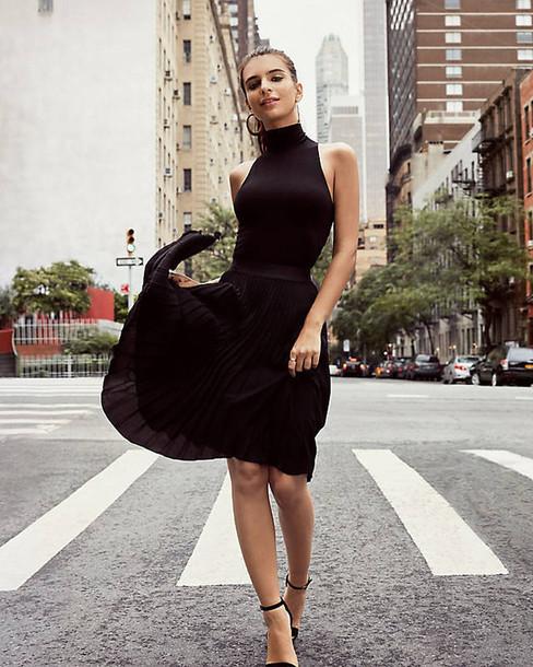 dress midi dress black dress sandals emily ratajkowski skirt midi skirt top black top turtleneck pleated pleated skirt