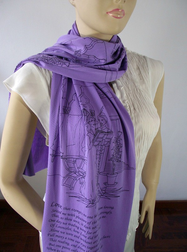 scarf book scarf dante alighieri jersey scarf text scarf all colors literary scarf literary gift book lovers gift classic literature clothes dante scarf