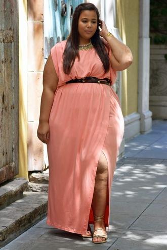 garner style blogger dress shoes jewels belt curvy plus size dress coral plus size maxi dress pink dress necklace gold necklace jewelry wrap dress plus size sandals plus size bridesmaid plus size bridesmaid dress