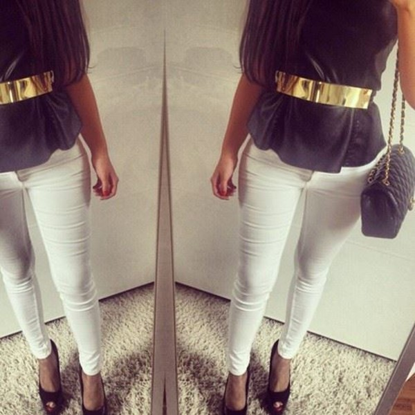 jeans white grey gold bag elegant classy shoes sexy hot beautiful shirt