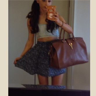 skirt ariana grande floral denim cute bag iphone case blue skirt skater skirt