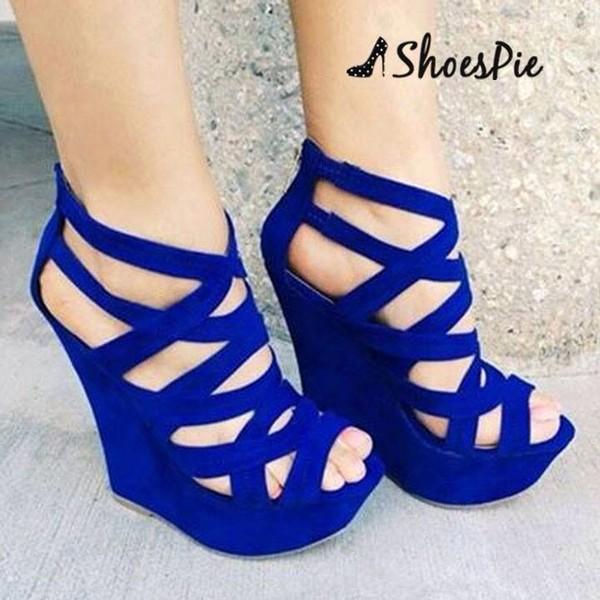 Fancy Blue Suede Cut-Outs Wedge Heel Sandals
